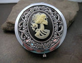 Handmade Victorian Oxidized Silver Day Of The Dead Compact Mirror