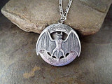 Handmade Oxidized Silver Bat Locket Necklace