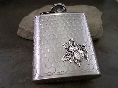 Handmade Small Steampunk Stainless Steel Bee Flask