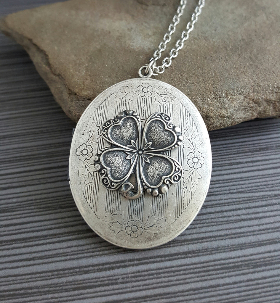 Handmade Oxidized Silver Four Leaf Clover Locket Necklace