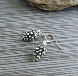 Handmade Oxidized Silver Pinecone Earrings