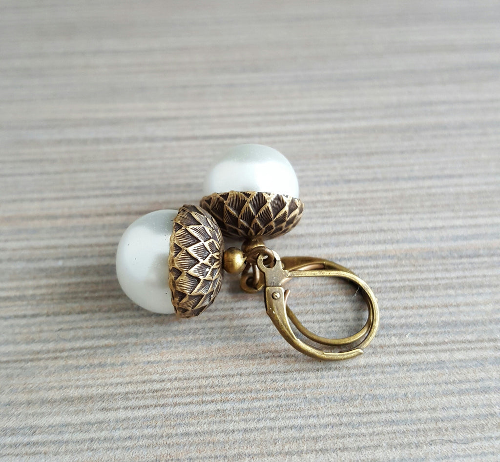 Handmade White Glass Pearl Acorn Earrings
