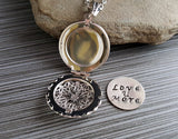 Handmade Hand Stamped Love You More Silver Filigree Locket Necklace