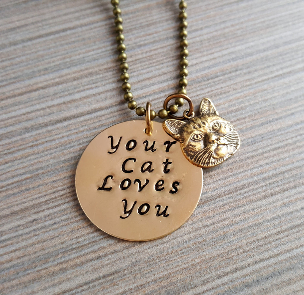 Handmade Hand Stamped Your Cat Loves You Charm Necklace