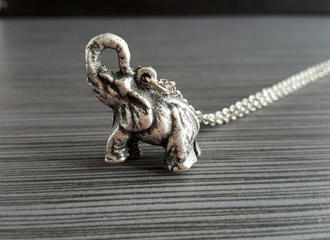 3D Silver Elephant Necklace