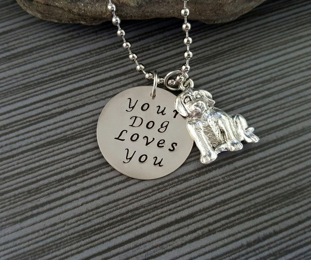 Handmade Hand Stamped Your Dog Loves You Necklace