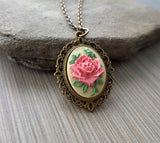 Handmade Victorian Pink Rose Cameo Necklace