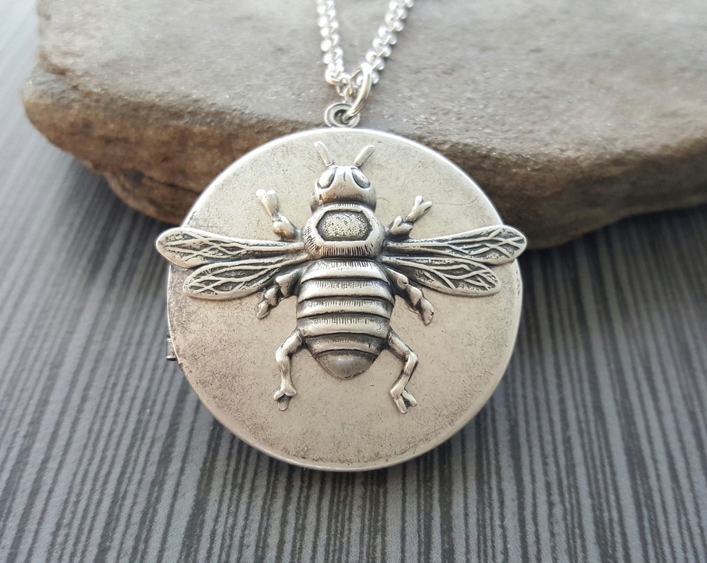 Handmade Oxidized Silver Bee Locket Necklace