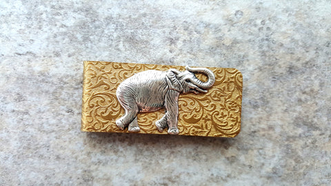 Handmade Embossed Brass Elephant Money Clip