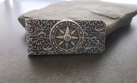 Handmade Oxidized Silver Embossed Brass Compass Money Clip