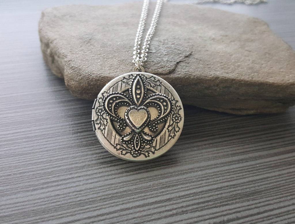 Handmade Oxidized Silver Fleur De Lis Locket Necklace