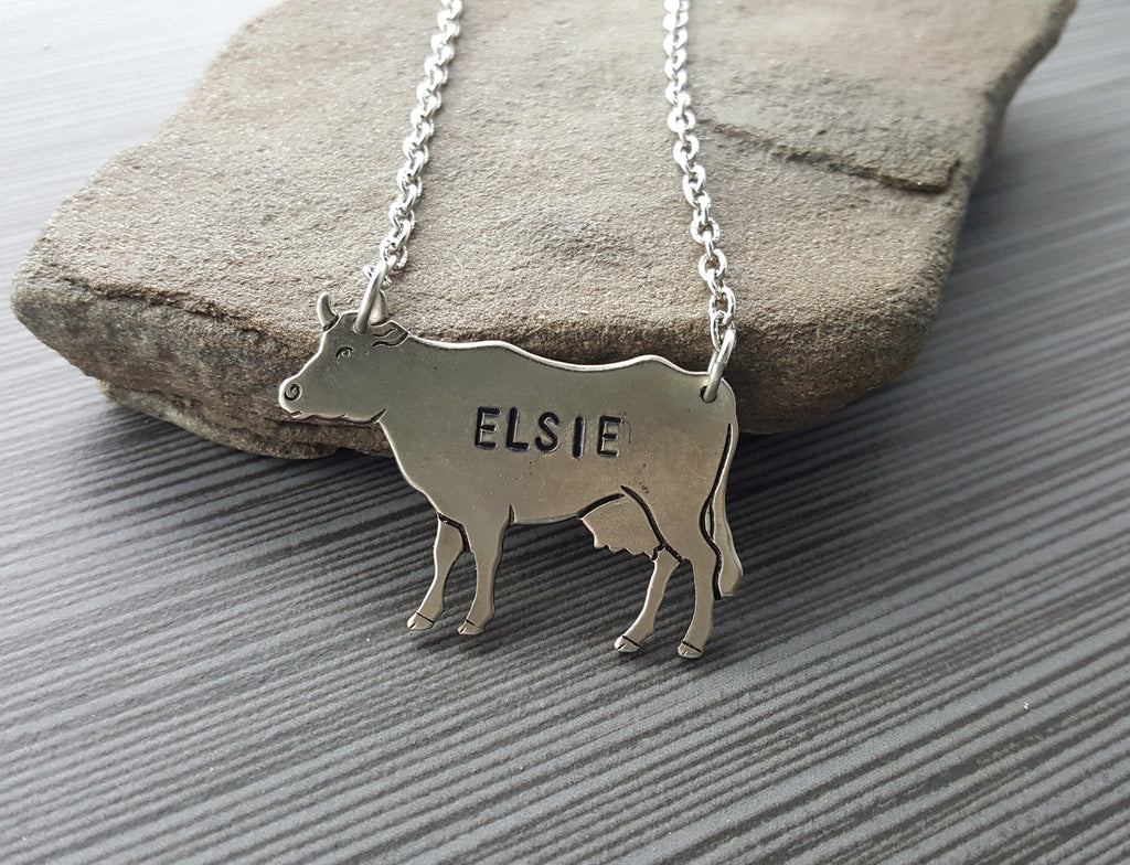 Handmade Elsie The Cow Pendant Necklace