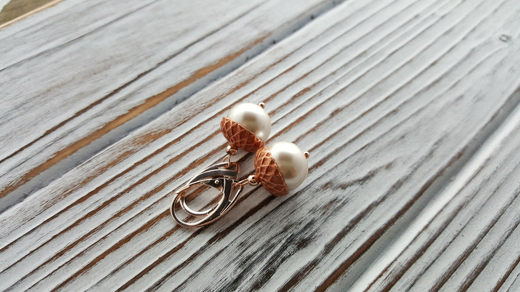 Handmade Rose Gold Pearl Acorn Earrings