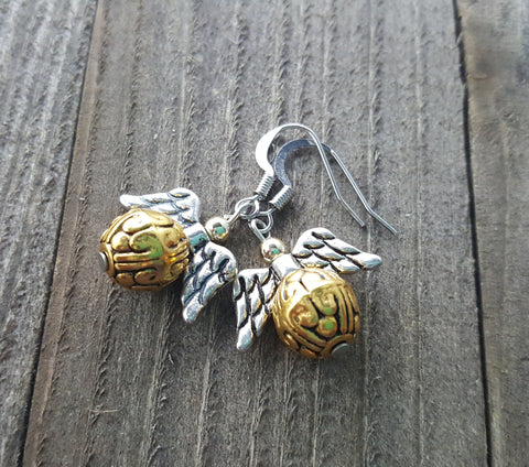 Handmade Golden Snitch Earrings