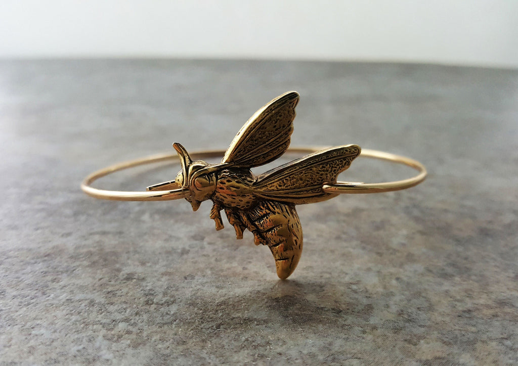 Handmade Gold Hornet Bangle Bracelet