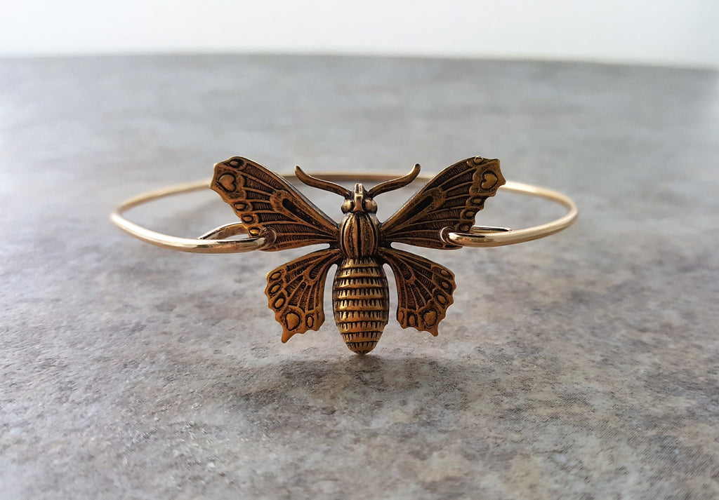 Handmade Gold Butterfly Bangle Bracelet