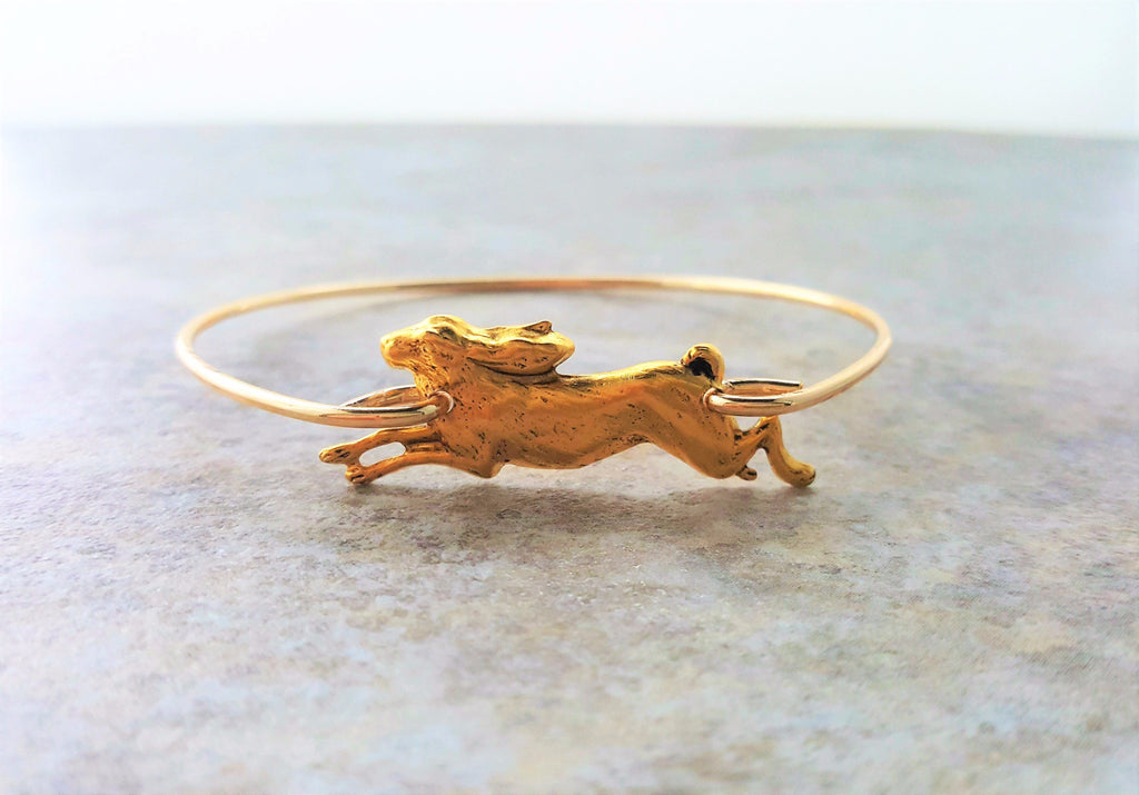 Handmade Gold Bunny Rabbit Bangle Bracelet