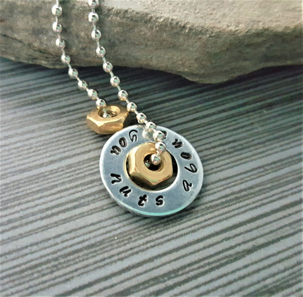 Handmade Hand-Stamped Nuts About You Necklace Or Keychain