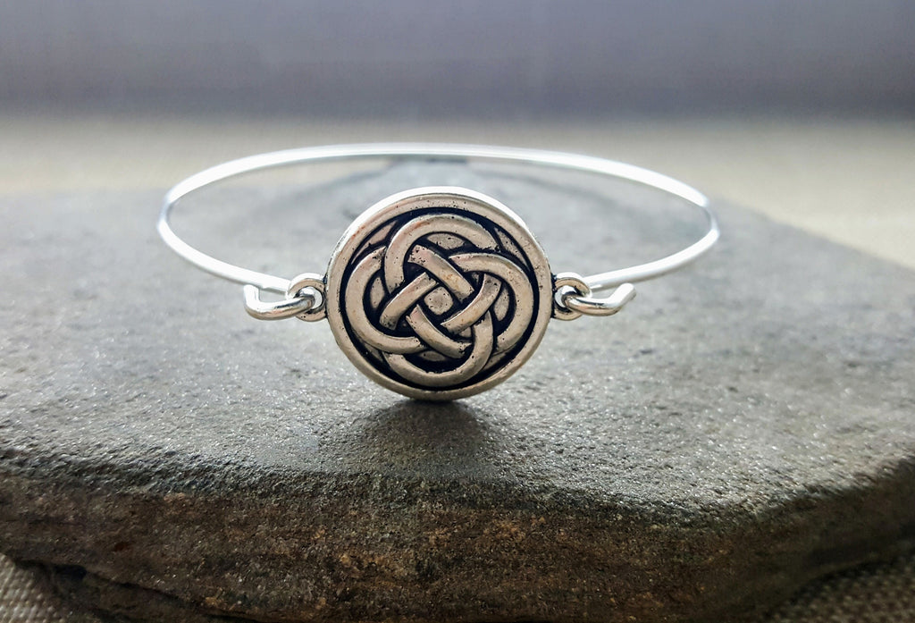Handmade Silver Celtic Knot Bangle Bracelet