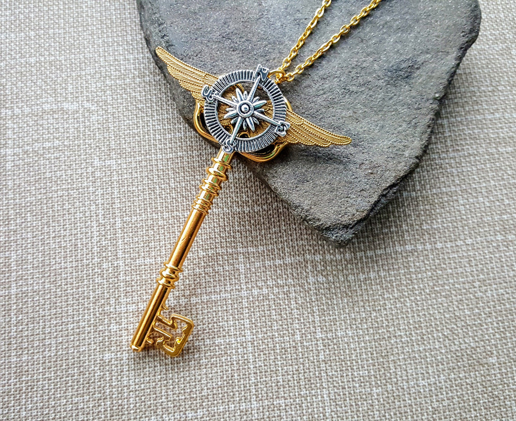 Handmade Steampunk Compass Key Necklace