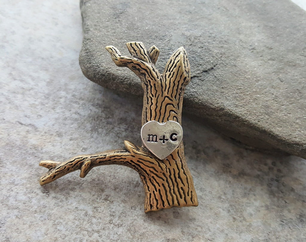 Handmade Lover's Tree Carved Initials Brooch Pin
