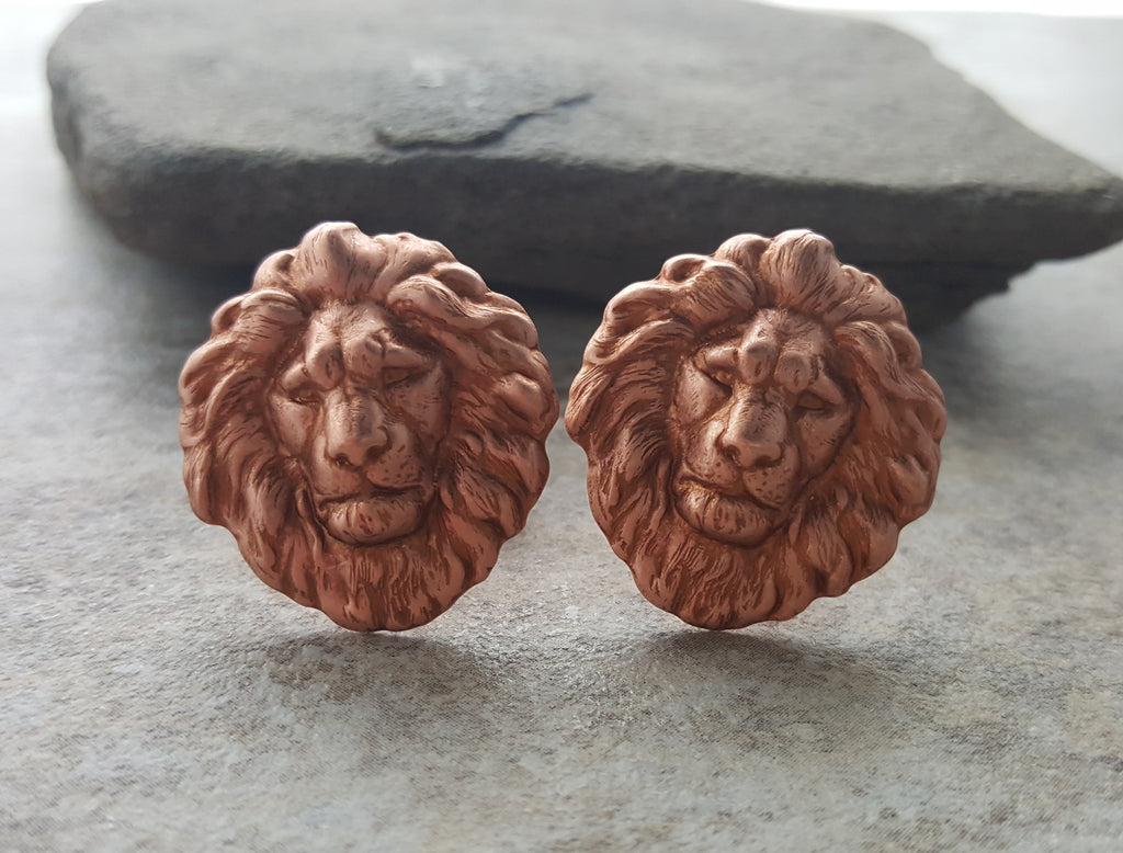 Handmade Oxidized Rose Gold Lion Cuff Links