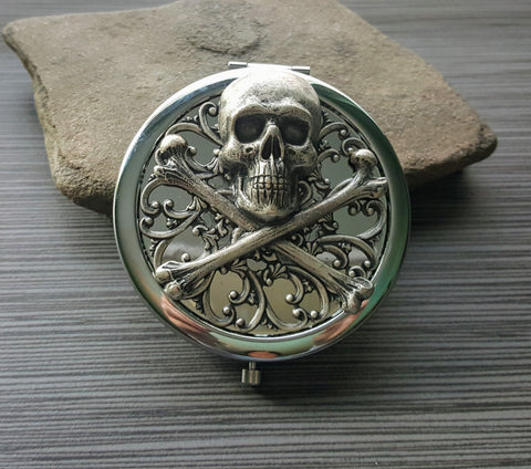 Handmade Oxidized Silver Skull And Crossbones Pirate Compact Mirror
