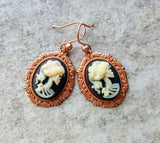 Handmade Rose Gold Day Of The Dead Rockabilly Earrings