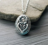 Handmade Silver Flower Locket Necklace