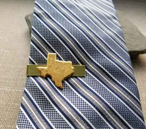 Handmade Gold Texas Tie Clip Tie Bar