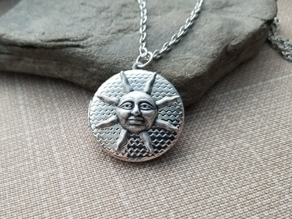 Handmade Silver Sun Locket Necklace