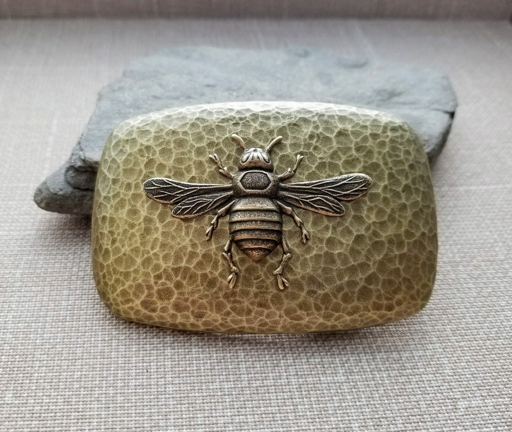 Handmade Oxidized Brass Steampunk Bee Belt Buckle