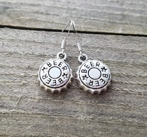 Handmade Beer Bottle Cap Craft Beer Earrings