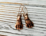 Handmade Oxidized Copper Bunny Rabbit Earrings
