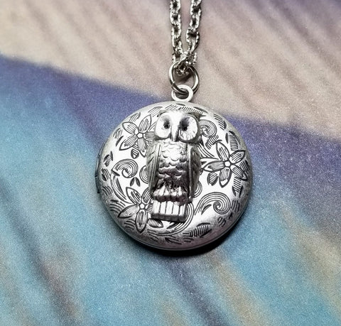 Handmade Ornate Owl Locket Necklace