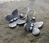 Handmade Oxidized Silver Butterfly Earrings
