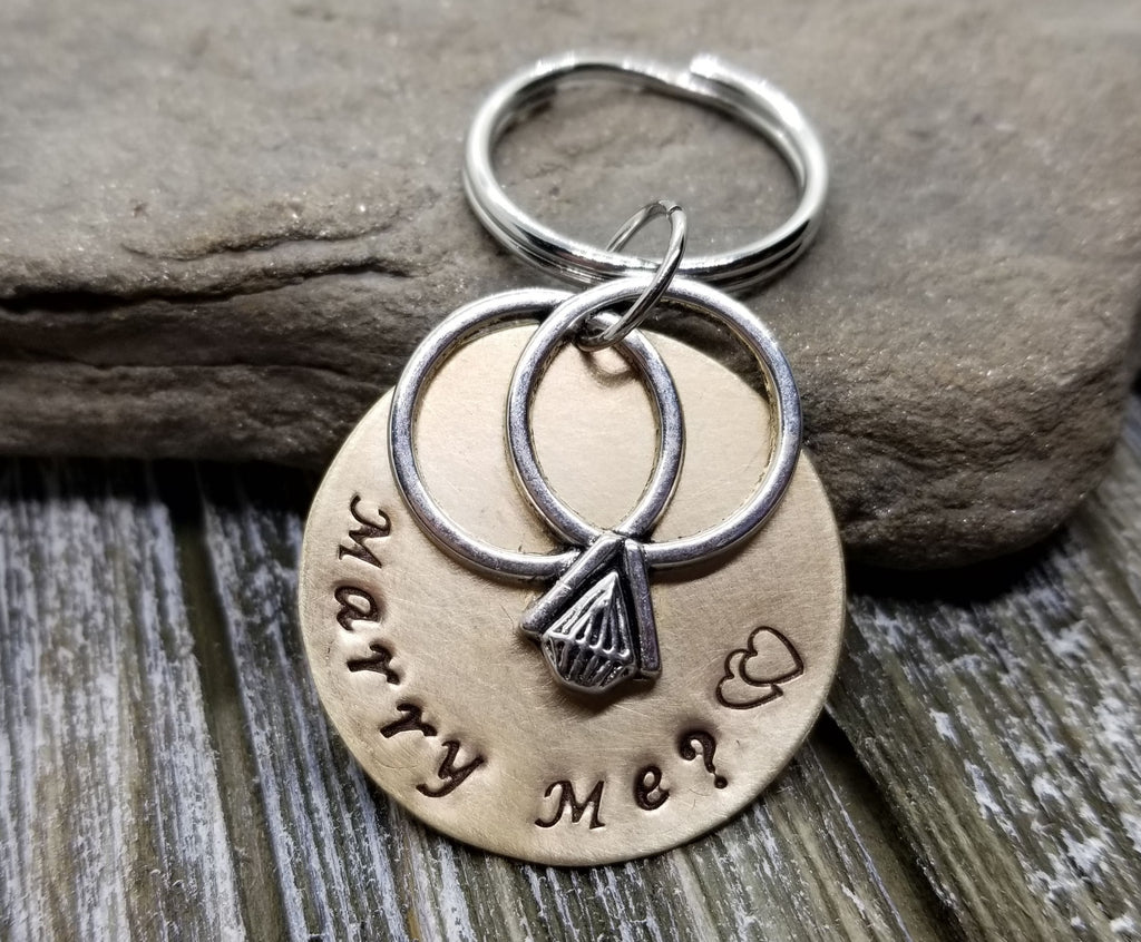 Handmade Hand Stamped Marry Me Marriage Proposal Key Chain