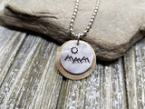 Handmade Hand Stamped Mountain Scenery Necklace