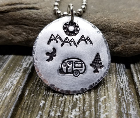 Handmade Hand Stamped Happy Camper Camping Necklace