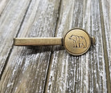 Handmade Handstamped Bronze Bear Tie Bar Clip