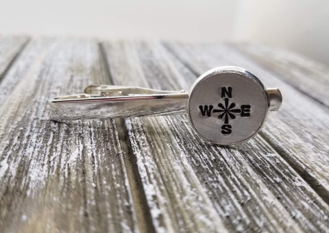 Handmade Handstamped Silver Compass Rose Tie Bar Clip