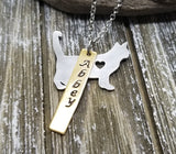 Handmade Personalized Hand Stamped Cat Necklace