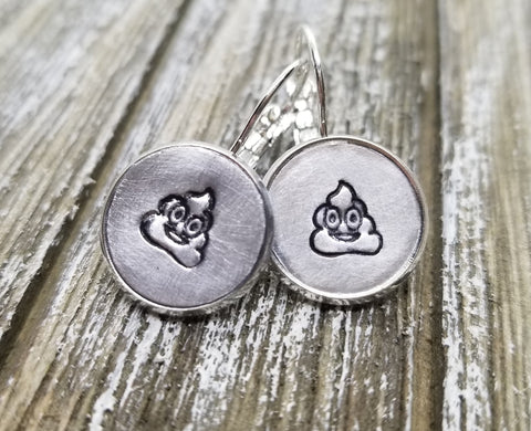 Handmade Hand Stamped Poop Emoji Earrings