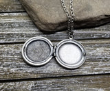 Handmade Oxidized Silver St. Christopher Locket Necklace