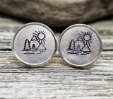 Handmade Hand Stamped Mountain Sunshine Earrings