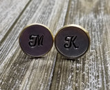 Handmade Hand-Stamped Personalized Initial Monogram Cuff Links - Gifts For Him