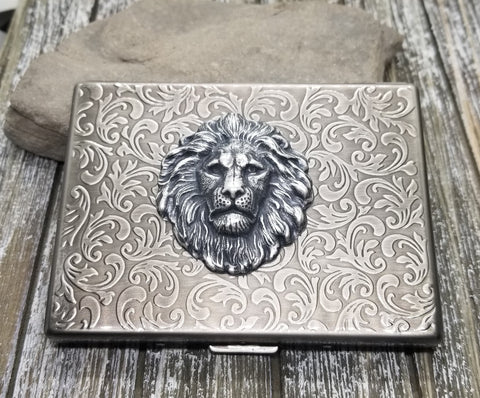 Handmade Antique Silver Embossed Steampunk Lion Cigarette Case