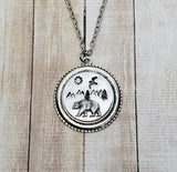 Handmade Hand Stamped Mountain Bear Nature Necklace