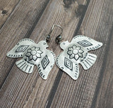 Handmade Oxidized Silver Southwest Thunderbird Earrings