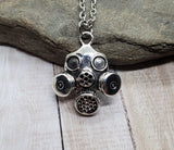 Steampunk Antique Silver Gas Mask Face Mask Necklace